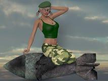 Sexig militär flicka som poserar med en bombardera Royaltyfria Bilder