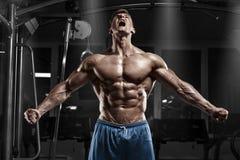 Sexig muskulös man i idrottshallen, format buk- Stark manlig naken torsoabs som utarbetar arkivfoton