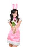 Sexig ro för rosa färg för kaninflickahåll Royaltyfria Bilder
