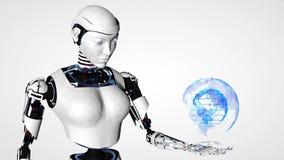 Sexig robotandroidkvinna som rymmer en digital planetjord Framtida teknologi för Cyborg, konstgjord intelligens, dator