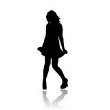 sexig silhouettevektor för flicka Arkivfoton