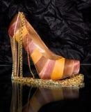 sexig sko för trendiga guld- smycken Royaltyfri Bild