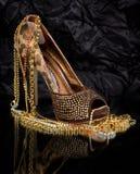 sexig sko för trendiga guld- smycken Fotografering för Bildbyråer