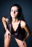 sexig slank kvinna för brunett arkivfoton