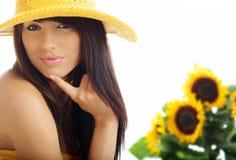 sexig solroskvinna Arkivfoton