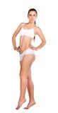 Sexig sportswoman som isoleras på white Royaltyfri Foto