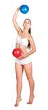Sexig sportswoman som isoleras på white. gymnastik Royaltyfria Bilder