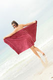 sexig strandskönhetbrunett Fotografering för Bildbyråer