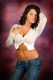 sexig tröja för brunett Fotografering för Bildbyråer