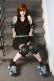 sexig trappa för derby flickarulle arkivbilder