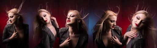 Sexig ung blond kvinna i omslag med hår i rörelse mode p Royaltyfri Fotografi