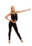 Sexig ung blond kvinnadans Fotografering för Bildbyråer