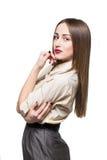 Sexig ung flicka i grov bomullstvill Fotografering för Bildbyråer