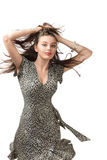 Sexig ung kvinna för lycklig dans Arkivbild
