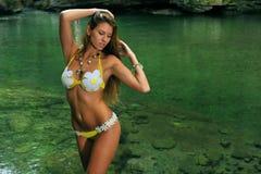 Sexig ung kvinna som poserar i märkes- bikini på exotiskt läge av bergfloden Arkivbilder