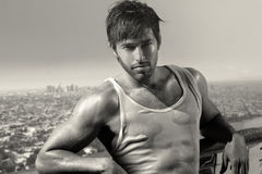 Sexig ung manlig modell Fotografering för Bildbyråer