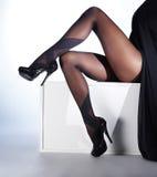 Sexiga ben av en ung kvinna i svarta strumpor Royaltyfri Bild