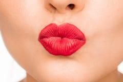 sexiga kanter För kantmakeup för skönhet röd detalj Yrkesmässig makeup Sinnligt öppna munnen L arkivfoto