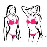 Sexiga kvinnakonturer, underkläder Arkivfoto