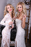 Sexiga kvinnor med blont hår bär lyxiga klänningar, hållande exponeringsglas av champagne i händer Arkivfoto