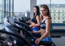 Sexiga passformkvinnor som kör på trampkvarnar i modern idrottshall Sunda unga unga flickor som gör rinnande övning på trampkvarn Arkivbild