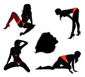 sexiga silhouettes för flicka Royaltyfria Foton