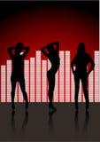 sexiga silhouetteskvinnor för klubba arkivbild
