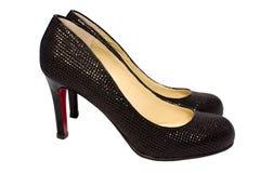 sexiga skor för svarta par arkivfoto