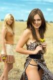 sexiga två kvinnor Royaltyfri Bild