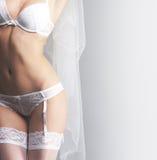 Sexigt förkroppsliga av en kvinna i erotisk damunderkläder för vit Royaltyfria Bilder