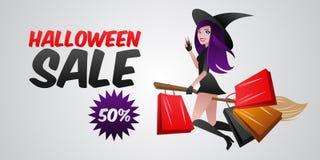 Sexigt häxaflyg på den halloween kvasten med köp och gåvor från lagerförsäljning Arkivbild