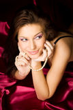 sexigt kvinnabarn för brunett royaltyfria foton