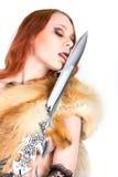 sexigt kvinnabarn för redhair Arkivbild