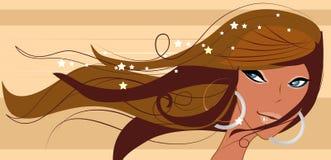 sexigt le för brunettheadshot Royaltyfria Bilder