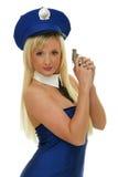 Sexigt vapen för polisflickainnehav Arkivbilder
