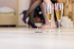 Sexo após uma festa de Natal, conceito rápido do sexo foto de stock royalty free