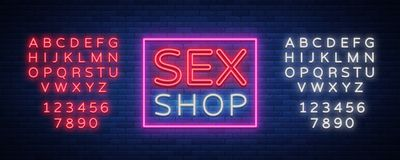 Sexshoplogoen, natt undertecknar in neonstil Neontecken, Royaltyfria Bilder