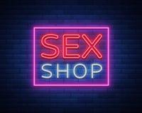 Sexshoplogoen, natt undertecknar in neonstil Neontecken, ett symbol för sexshopbefordran Vuxet lager Ljust baner, nightly royaltyfri illustrationer