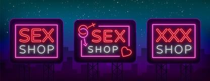 Sexshopuppsättning av logoer i neonstil Samling av emblem Neoneffekt, livsmedelsbutik, intima objekt vektor Arkivbild