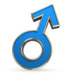 Manlign könsbestämmer symbolet som 3D isoleras på vit Arkivbild