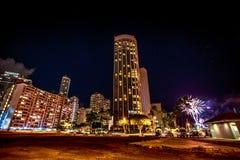 Sexta-feira à noite fogos-de-artifício Honolulu Fotografia de Stock Royalty Free