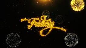 Sexta-feira deseja o cartão de cumprimentos, convite, fogo de artifício da celebração dado laços