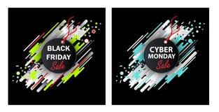Sexta-feira e cyber pretos segunda-feira Fotos de Stock Royalty Free
