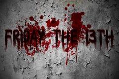 Sexta-feira o texto assustador do sangue do grunge do 13o horror imagem de stock