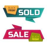 Sexta-feira preta vendida e bandeiras ou etiquetas da venda para a promoção de mercado Foto de Stock Royalty Free