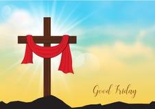 Sexta-feira Santa O fundo com cruz e o sol de madeira irradia na SK ilustração stock