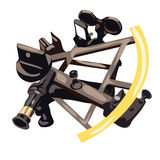 Sextant in cartoon style on white background Royalty Free Stock Image
