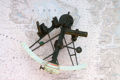 Sextant on a Chart Stock Photography