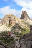 Sexten dolomitów panorama z wysokogórską budą Dreizinnenhutte, rockowym Frankfurter Wurstel i górą Toblinger Knoten w Południowym Zdjęcie Stock