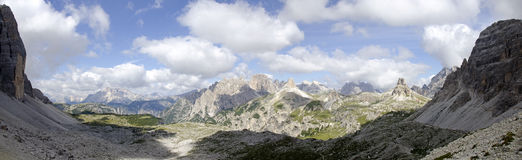 the Sexten Dolomites from the Lavaredopass Royalty Free Stock Photo